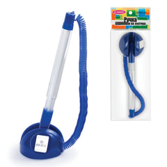 """Ручка шариковая настольная BEIFA (Бэйфа) """"СТОППЕН"""", на липучке, корпус прозрачный/синий, 0,7 мм, синяя"""