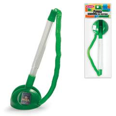 """Ручка шариковая настольная BEIFA (Бэйфа) """"СТОППЕН"""", на липучке, корпус прозрачный/зеленый, 0,7 мм, синяя"""