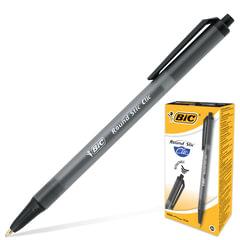 """Ручка шариковая BIC автоматическая """"Round Stic Clic"""" (Франция), корпус черный, толщина письма 0,4 мм, черная"""