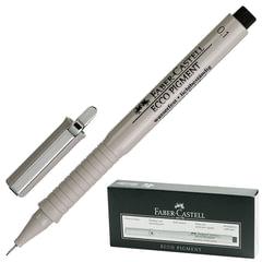 """Ручка капиллярная FABER-CASTELL """"Ecco Pigment"""", толщина письма 0,1 мм, корпус серый, черная"""