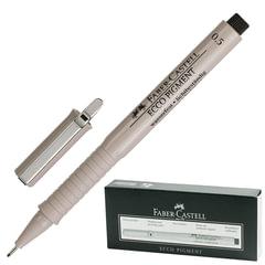 """Ручка капиллярная FABER-CASTELL """"Ecco Pigment"""", толщина письма 0,5 мм, корпус серый, черная"""