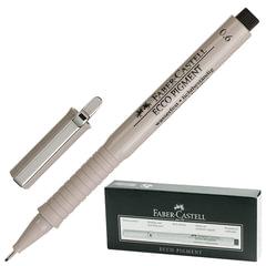 """Ручка капиллярная FABER-CASTELL """"Ecco Pigment"""", толщина письма 0,6 мм, корпус серый, черная"""