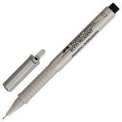 """Ручка капиллярная FABER-CASTELL """"Ecco Pigment"""", толщина письма 0,7 мм, корпус серый, черная"""