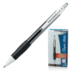 """Ручка гелевая PAPER MATE автоматическая """"PM Gel"""", корпус черный с белым, толщина письма 0,7 мм, черная"""