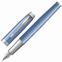 """Ручка перьевая PARKER """"IM Premium Blue CT"""", корпус голубой, анодированный алюминий с гравировкой, хром, 1931688, синяя"""