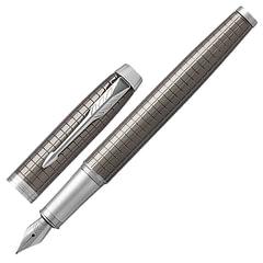 """Ручка перьевая PARKER """"IM Premium Dark Espresso Chiselled CT"""", корпус т-коричневый, латунь с гравировкой, лак, хром, 1931681,синяя"""