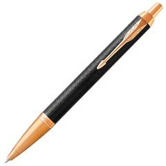 """Ручка шариковая PARKER """"IM Premium Black GT"""", корпус черный, анодированный алюминий, позолоченные детали, 1931667, синяя"""