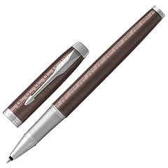 """Ручка-роллер PARKER """"IM Premium Brown CT"""", корпус коричневый, анодированный алюминий с гравировкой, хром, 1931678, черная"""
