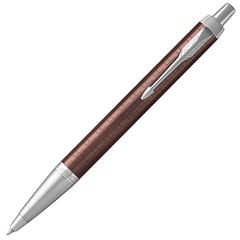"""Ручка шариковая PARKER """"IM Premium Brown CT"""", корпус коричневый, анодированный алюминий с гравировкой, хром, 1931679, синяя"""