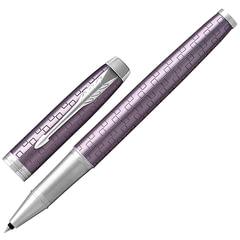 """Ручка-роллер PARKER """"IM Premium Dark Violet CT"""", корпус фиолетовый, анодированный алюминий с гравировкой, хром, 1931639, черная"""