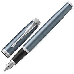 """Ручка перьевая PARKER """"IM Core Light Blue Grey CT"""", корпус серо-голубой с круговой полировкой, латунь, лак, хром, 1931648, синяя"""