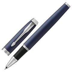 """Ручка-роллер PARKER """"IM Core Matte Blue CT"""", корпус т-синий, латунь, матовый лак, хромированное покрытие деталей, 1931661, черная"""