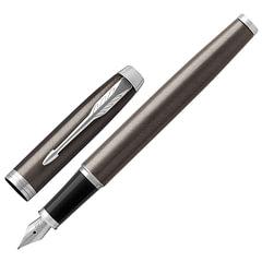 """Ручка перьевая PARKER """"IM Core Dark Espresso CT"""", корпус темно-коричневый с круговой полировкой, латунь, хром, 1931650, синяя"""