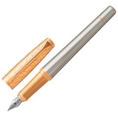 """Ручка перьевая PARKER """"Urban Premium Aureate Powder GT"""", корпус серебристый, анодированный алюминий, позолоченная, 1931571, синяя"""