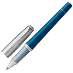 "Ручка-роллер PARKER ""Urban Premium Dark Blue CT"", корпус темно-синий, анодированный алюминий, хром, 1931566, черная"