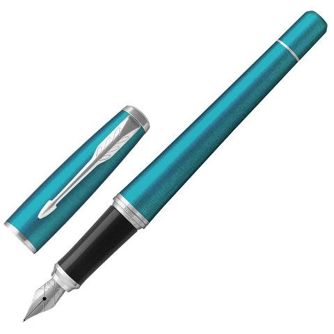 """Ручка перьевая PARKER """"Urban Core Vibrant Blue CT"""", корпус изумрудный, латунь, лак, хромированное покрытие деталей, 1931594, синяя"""