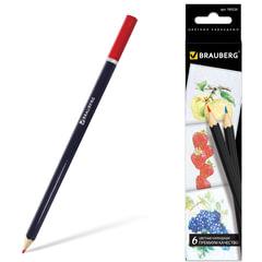 """Карандаши цветные BRAUBERG (БРАУБЕРГ) """"Artist line"""", 6 цветов, черный корпус, заточенные, высшее качество"""