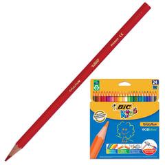 """Карандаши цветные BIC (Франция), 24 цветов, """"Evolution Kids"""", пластиковые, заточенные, картонная упаковка с европодвесом"""