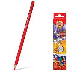 """Карандаши цветные KOH-I-NOOR """"T+J"""", 6 цветов, грифель 3,2 мм, заточенные, картонная упаковка с европодвесом"""