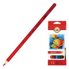"""Карандаши цветные акварельные KOH-I-NOOR """"Fish"""", 12 цветов, грифель 3 мм, заточенные, картонная упаковка, европодвес"""