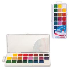 """Краски акварельные ГАММА """"Чудо-краски"""", 24 цвета (24 кюветы: 22цв.+2бел.), медовые, пластиковая коробка с европодвесом, без кисти"""