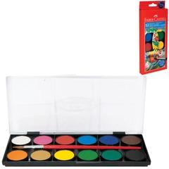 """Краски акварельные FABER-CASTELL """"Watercolours"""", 12 цветов, с кисточкой, диаметр кювет 30 мм, с европодвесом"""