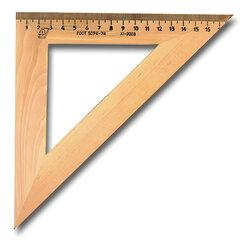 Треугольник деревянный УЧД, угол 45, шкала 18 см