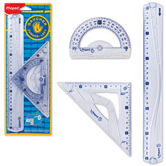 "Набор чертежный MAPED (Франция) ""Geometric"", для левши: линейка 30 см, треугольник, транспортир"