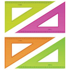 """Треугольник СТАММ """"Neon Cristal"""", угол 30, шкала 23 см, тонированный, прозрачный, неон. ассорти"""