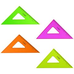 """Треугольник СТАММ """"Neon Cristal"""", угол 45, шкала 12 см, тонированный, прозрачный, неон. ассорти"""