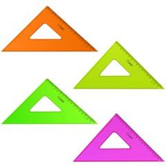 """Треугольник СТАММ """"Neon Cristal"""", угол 45, шкала 16 см, тонированный, прозрачный, неон. ассорти"""