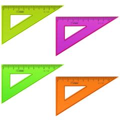 """Треугольник СТАММ """"Neon"""", угол 30, шкала 10 см, тонированный, непрозрачный, неон. ассорти"""