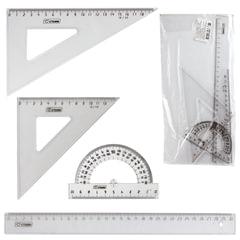 Набор чертежный большой СТАММ (линейка 30 см, треугольник 2 шт., транспортир), прозрачный