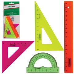 """Набор чертежный малый СТАММ """"Neon"""", (линейка 16 см, треугольник 2шт., транспортир), неоновый, европодвес"""