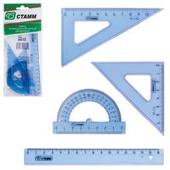 Набор чертежный малый СТАММ (линейка 16 см, треугольник 2шт., транспортир), прозрачный, европодвес