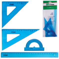 Набор чертежный большой СТАММ (линейка 30 см, треугольник 2шт., транспортир), прозрачный, европодвес