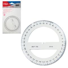 Транспортир KOH-I-NOOR, 100 мм, 360 градусов, пластиковый, прозрачный, упаковка с европодвесом