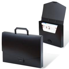 """Портфель пластиковый BRAUBERG """"Energy"""" (БРАУБЕРГ """"Энерджи""""), А4, 256х330 мм, без отделений, черный"""