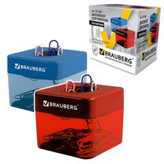 Скрепочница магнитная BRAUBERG (БРАУБЕРГ) с 20 скрепками, ассорти