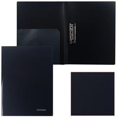 """Папка с боковым металлическим прижимом и внутренним карманом BRAUBERG (БРАУБЕРГ) """"Диагональ"""", черная, до 100 листов, 0,6 мм"""