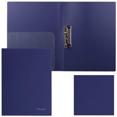 """Папка с боковым металлическим прижимом и внутренним карманом BRAUBERG (БРАУБЕРГ) """"Диагональ"""", темно-синяя, до 100 листов, 0,6 мм"""