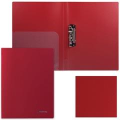 """Папка с боковым металлическим прижимом и внутренним карманом BRAUBERG (БРАУБЕРГ) """"Диагональ"""", темно-красная, до 100 листов, 0,6 мм"""