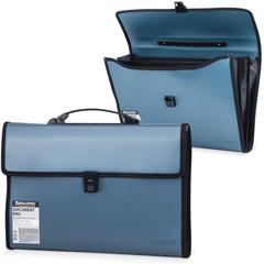 Портфель пластиковый BRAUBERG (БРАУБЕРГ), 390х260х40 мм, 3 отделения, с окантовкой, темно-синий