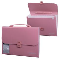 Портфель пластиковый BRAUBERG (БРАУБЕРГ), А4, 327х254х30 мм, стандартная фактура, 13 отделений, пластиковый индекс, розовый