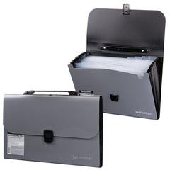 Портфель пластиковый BRAUBERG (БРАУБЕРГ), А4, 327х254х30 мм, диагональная фактура, 13 отделений, пластиковый индекс, серебристый