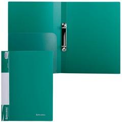 Папка на 2 кольцах BRAUBERG (БРАУБЕРГ), стандарт, 25 мм, зеленая, до 120 листов, 0,8 мм