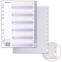 Разделитель пластиковый BRAUBERG (БРАУБЕРГ) для папок А4, цифровой 1-12, с оглавлением, серый, Китай