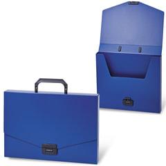 """Портфель пластиковый BRAUBERG """"Energy"""" (БРАУБЕРГ """"Энерджи""""), А4, 256х330 мм, без отделений, синий"""
