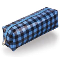 Пенал-косметичка BRAUBERG (БРАУБЕРГ), пвх, голубой-черный, клетка, 20х6х5 см