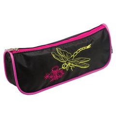 """Пенал-косметичка BRAUBERG (БРАУБЕРГ), полиэстер, черно-розовый, """"Стрекоза"""", вышивка, 21х4х8 см"""